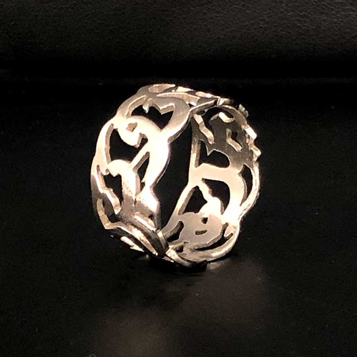 Personalized name Ring in English or Arabic Calligraphy in Silver
